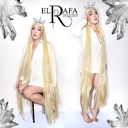 Rafa Concepcion - Elrafa Crystal Crown, Sm Accessories Earrings, Hair In Point 65 Inches Wig, Elrafa Blazer - Barefoot Crystal Queen