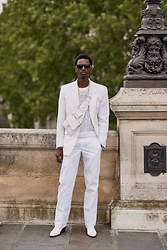 Jon The Gold - Liebeskind Berlin White Cross Body Bag, Versace Black Medusa Sunglasses, Dickies White Trousers, Asos White Cowboy Boots, Weekday White See Through Shirt, Vintage White Blazer - All White Look in Paris