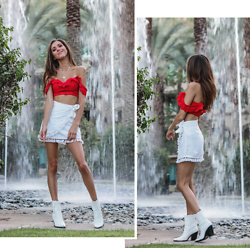 Jenny M - Forever 21 Red Eyelet Off The Shoulder Crop Top, Forever 21 White Linen Tassel Wrap Skirt, Aldo White Cowboy Boots - PALM SPRINGS COWGIRL // thehungarianbrunette.com