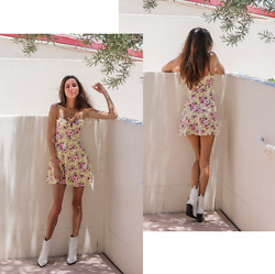 Jenny M - Forever 21 Yellow Floral Mini Dress, Aldo White Cowboy Boots - ETHEREAL SUN // thehungarianbrunette.com