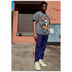 Jason - Adidas Yeezy 500 Supermoon, Forever 21 Track Pants, Forever 21 Street Fighter Tee - Alpha