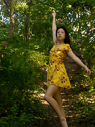 Gi Shieh - H&M Floral Yellow Wrap Dress - Playing with that Golden Hour Light