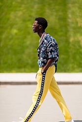 Jon The Gold - Scotch & Soda Print Shirt, Kappa Yellow Joggerpants, Topman Silver Chunky Necklace, Komono Watch - Sporting Colors in Paris