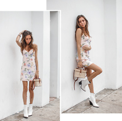 Jenny M - Forever 21 Floral Slip Dress, Aldo White Cowboy Boots - CITY FLOWER // @thehungarianbrunette