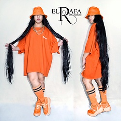 Rafa Concepcion - Elrafa Bucket Hat, Elrafa 60 Inches Wig, Elrafa Oversized Shirt, Elrafa Orange Sicks, Forever 21 Shoes - 🧡Orange is the new Black🖤