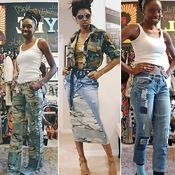 Latrenia Bryant - Camouflage Pants, Denim Pants - Refashioned pants to skirt