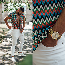 Hugo Filipe - Topman Knitted Top, Michael Kors Gold Watch, Zara White Denim, Pull & Bear White Kicks With Green Accent - Surviving The Summer