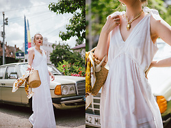 Andreea Birsan - White Maxi Dress, Basket Bag, Silk Scarf, Glasses, Necklace - The white maxi dress