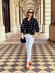 Butterfly Petty - Zara Shirt, Zara Jeans, Guess Shoes, Guess Bag - Red shoes