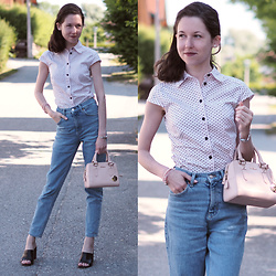 Claire H - H&M Very Old Blouse, Furla Handle Bag Linda In Rose, Mango Mom Jeans, Högl Black Leather Mules - Best of 50s