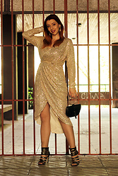 Milica Venoma - Dropship Clothes Dress, Dresslily Bag, Zaful Heels - Golden Girl