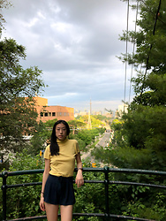 Gi Shieh - Raided Mom's Closet Yellow Turtleneck Shirt, Forever 21 Navy Flowy Shorts - Canada was Fun!