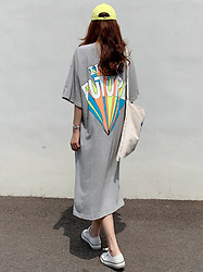Miamiyu K - Miamasvin Back To Back Print Side Slit T Shirt Dress - Graffiti Street Style