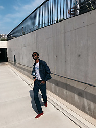 Jon The Gold - Levi's® Levi's Engineered Denim Jacket, Levi's® Levi's Engineered Denim Pants, Veja Red Low Top Sneakers, Salvatore Ferragamo Black Frame Sunglasses - Denim on Denim