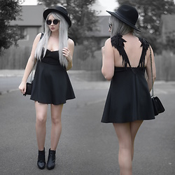 Sammi Jackson - Primark Black Fedora, Zaful Sunglasses, Chicwish Angel Wing Dress, Chanel Boy Bag, Office Chunky Ankle Boots - ANGELS VS DEMONS