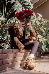 Ingrid G - Zara Snakeskin Print Jacket, Cotton On Ribbed Velvet Bodysuit, Woolworths Black Belt With Gold Buckle, Cotton On Tan Ankle Lace Up Boots, Woolworths Skinny Black Pants - Pretty as a bunch of flowers