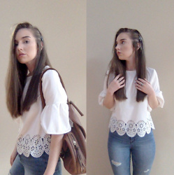 Kayla à la mode - Pacsun Distressed Jeans, Shein Fashion Top, Dasein Convertible Backpack - Daisy dreamer