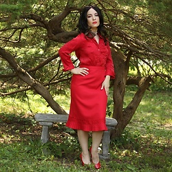 Libertad Green -  - All Red Outfit: Red Blouse and Skirt