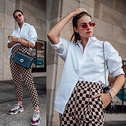 Jacky - Pilgrim Sunglasses, Gestuz Shirt, Gucci Bag, Baum & Pferdgarten Pants, Balenciaga Sneakers - Check Pants, White Shirt and Ugly Sneakers