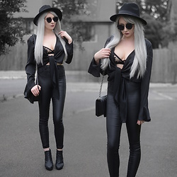 Sammi Jackson - Primark Black Fedora, Zaful Sunglasses, Femme Luxe Silky Tie Top, Primark Lace Bralet, Topshop Satin Jeans, Chanel Boy Bag, Office Chunky Boots - SILKY TIE TOP