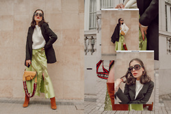 Agustina Torti - Asos Satin Skirt, She In Oversized Sweater - How to wear a satin skirt in winter