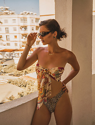 Natasha Karpova - No Brand Sunglasses, No Brand Tropical Silk Scarf, No Brand Animal Swimsuit - BEACH TIME VOL.I