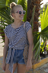Ewa Michalik - Portrait Sunglasses, Fadd Fashion Addict Top, Pull & Bear Shorts, Paulabaar Bag - Hello, Sailor Girl!