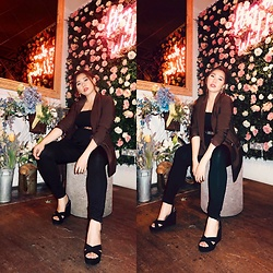 Joy L. A. - H&M Dark Brown Blazer, Kurt Geiger Black Wedges - Hey there, wild thing.