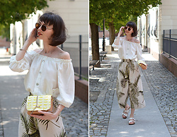 Daisyline . - H&M Pants, Reserved Linen Top, Birkenstock Shoes - Cullotes & off shoulder top / IG: daisylineblog