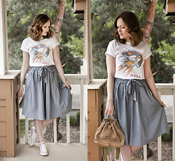 Emily S. - Urban Outfitters Nasa Graphic Tee, Gap Backpack, Adored Vintage Midi Skirt, Converse Sneakers - Sky Blue Sky
