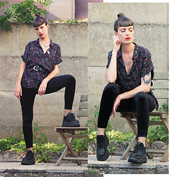 ♡Nelly Kitty♡ - Gemo Floral Print Shirt, Vintage Leather Belt, H&M Black Velvet Leggings, Gemo Black Platform Sneakers, Asos Turquoise Necklace - OOTD#71