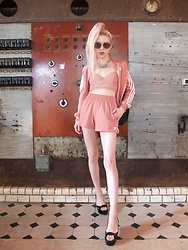 Emmalynn V - Adidas Originals Shorts, Adidas Originals Jacket, Gentle Monster Sunglasses, Zimmermann Bustier Top, Sergio Rossi Wedges - Fashion Week
