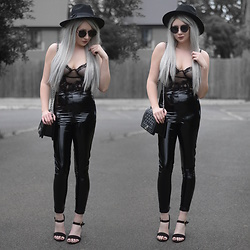 Sammi Jackson - Primark Black Fedora, Zaful Sunglasses, Femme Luxe Sheer Lace Bodysuit, Femme Luxe Vinyl Leggings, Chanel Boy Bag, Primark Sandals - LACE + LATEX