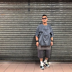 Mannix Lo - Harsh And Cruel Layered Tee, Rick Owens Layered Shorts, Adidas Yeezy 700 Sneakers - They only hear the words they want to hear