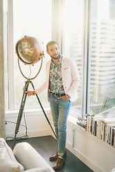 Hector Diaz - Zara Rose Sports Jacket (Similar), Rodd And Gunn Floral Button Down, Club Monaco Washed Denim Jeans, Club Monaco Belt, Ted Baker Bracelet, Beckett Simonon Valencia Tan Shoes - Rooftop Days