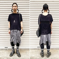 @KiD - Evil Twin Fringe Tops, Kirin Beer Sen Nuki, Hellz Afghan Pants, Dr. Martens 10 Hole - JapaneseTrash515
