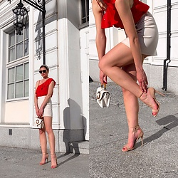 Zuza - Topshop Heels, Topshop Bag - Lady in red
