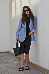 Olga Dupakova - Mango Bag, H&M Sandals, Mango Sunglasses - Blue jacket