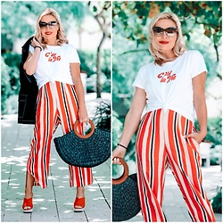Zia Domic - Cece By Cynthia Steffe White Graphic Tee, Nurode Striped Pants, Who What Wear Straw Bag - Stripes & Straw