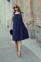Butterfly Petty - Guess Bag, Tamaris Heels - Blue summer dress