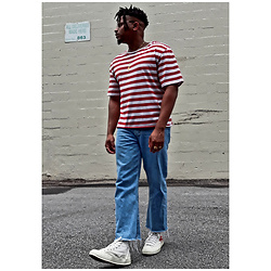 Jason - Comme Des Garçons Converse, Asos Cropped Jeans, Zumiez Striped Shirt - WALDO w/ locks