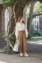 Summer R - H&M Cotton Ruffles White Blouse, Massimo Dutti Linen High Waist Cropped Culottes, Stan Smith Smiths, Furla Hobo Bag - Ruffles & Linen