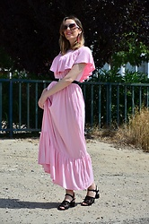 Elisabeth Green - Dear Lover Dress - Pink Ruffle Long Dress