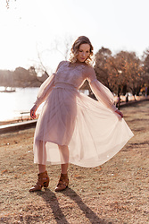 Ingrid G - Young Designers Emporium Mesh Princess Dress, Cotton On Lace Up Ankle Boots - Sunset princess