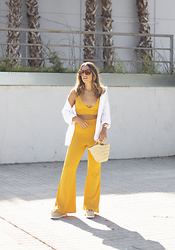 Claudia Villanueva - Zara Shirt, Femmeluxe Co Ord Set, Local Store Bag - Yellow Sunshine