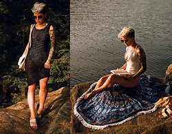 Carolyn W - Asos White, Femme Luxe Crochet, Target Slides, Dresslily Mandala - Golden Hour on the Hudson