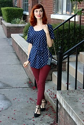 Bleu Avenue - Blooming Jelly Retro Polka Dots Round Neck Blouse With Belt - Tunic Weekend Wear