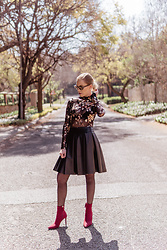 Ingrid G - Young Designers Emporium Flower Printed Mesh Bodysuit, Young Designers Emporium Pu Leather Skirt, Woolworths Red Sock Heel Ankle Boots, Ray Ban Black And Grey Tortoise Shell Cat Eye Sunglasses - On Trend