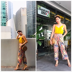Cassey Cakes - Mango Top, Mango Sandals, Zaful Floral Pants - Sunday BBQ