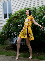 Gi Shieh - H&M Floral Yellow Wrap Dress, Raided Moms Closet Yellow Turtleneck Tee Shirt, Forever 21 Navy Shorts - Mellow Yellow